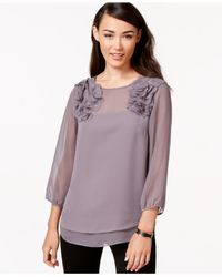 Eci | Gray Illusion Three-quarter-sleeve Floral Top | Lyst