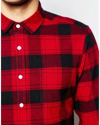 ASOS | Red Check Shirt In Heavyweight With Long Sleeves for Men | Lyst