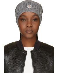 Moncler | Gray Fox Fur Pom Pom Beanie Hat | Lyst