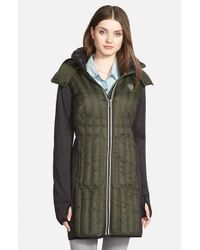 MICHAEL Michael Kors | Green Thumbhole Cuff Mixed Media Hooded Down Coat | Lyst