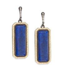 Armenta - Blue Old World Lapis, White Quartz, Diamond & 18k Yellow Gold Drop Earrings - Lyst
