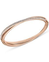 Michael Kors | Metallic Brilliance Rose Gold Pave Hinge Bangle | Lyst