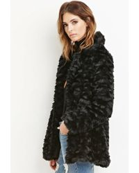 Forever 21 - Black Contemporary Faux Fur Coat - Lyst