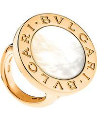 BVLGARI | - 18Ct Pink-Gold And Mother-Of-Pearl Ring - For Women | Lyst