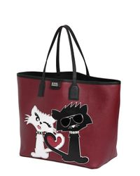 Karl Lagerfeld | Red K Choupette Love Faux Leather Tote Bag | Lyst