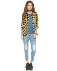 Free People | Yellow Lace-Up Plaid Crepe Blouse | Lyst