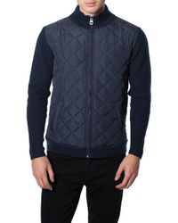 7 Diamonds | Blue 'gatti' Quilted Panel Lambswool Knit Jacket for Men | Lyst