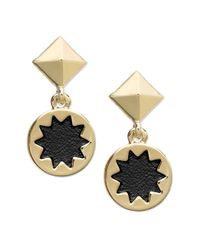 House of Harlow 1960 | Metallic Goldtone Sunburst Black Leather Drop Earrings | Lyst