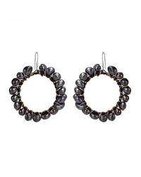 Aeravida - Copper Wire Black Pearl .925 Silver Dangle Hoop Earrings - Lyst