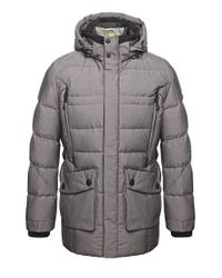 BOSS Green Gray Outdoor Jacket 'jaboah' With Down/feather Padding for men