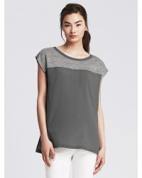 Banana Republic | Gray Linen Dolman Top | Lyst