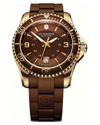 Victorinox | Brown 'maverick Gs' Rubber Strap Watch for Men | Lyst