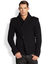 Ralph Lauren Black Label - Black Double Breasted Merino Woool Shawl Jacket for Men - Lyst