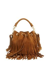 Saint Laurent | Brown Emmanuelle Fringed Bucket Bag | Lyst