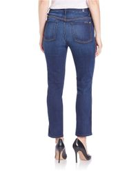 7 For All Mankind | Cropped High-waist Straight Jeans - Blue | Lyst