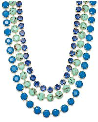 ABS By Allen Schwartz | Gold-tone Blue And Green Stone Three-row Necklace | Lyst