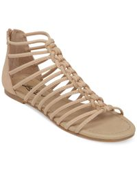 Lucky Brand - Natural Casmett Strappy Caged Flat Sandals - Lyst