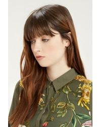 Oasis - Green Floral Print Shirt Dress - Lyst