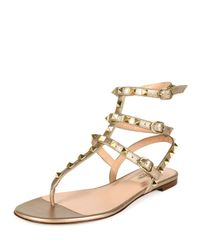 Valentino - Natural Rockstud Leather Gladiator Sandals - Lyst