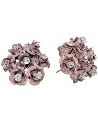 Betsey Johnson | Metallic Antique Gold-Tone Crystal B Letter Single Stud Earring | Lyst