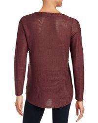 Lord & Taylor - Purple Hi-lo Knit Sweater - Lyst