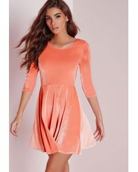 Missguided | Pink 3/4 Sleeve Velvet Skater Dress Salmon | Lyst