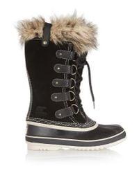 Sorel - Black Joan Of Arctictm Fur-trim Boot - Lyst