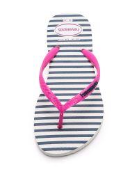 Havaianas - Slim Retro Stripe Flip Flops - White Rose - Lyst