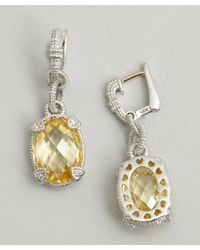 Judith Ripka - Metallic Canary Crystal And Silver Oval Drop Earrings - Lyst