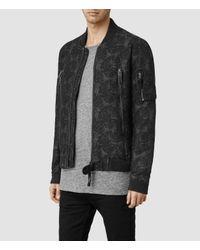 AllSaints | Gray Otis Bomber Jacket for Men | Lyst