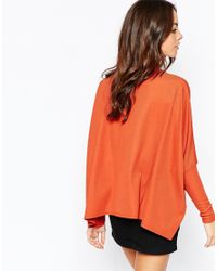 Daisy Street | Orange Ribbed Turtle Neck Cape Top | Lyst