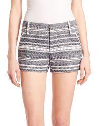 Alice + Olivia | Blue Cady Printed Stripe Shorts | Lyst