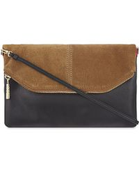 Maje | Black Silver Two-tone Suede Clutch | Lyst