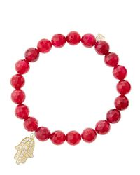 Sydney Evan - 8Mm Faceted Red Agate Beaded Bracelet With 14K White Gold/Diamond Medium Hamsa Charm (Made To Order) - Lyst