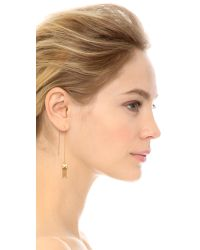 Heather Hawkins - Metallic Baguette Threader Earrings - Clear/gold - Lyst
