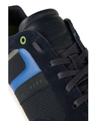 BOSS Green - Blue 'gym Soft' Trainers In Material Blend for Men - Lyst
