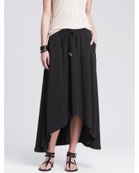 Banana Republic | Black High/low Midi Skirt | Lyst
