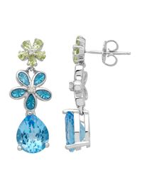 Lord & Taylor | Sterling Silver Blue Topaz White Topaz And Peridot Earrings | Lyst