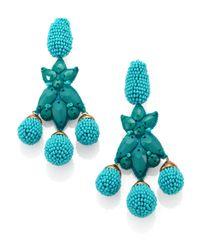 Oscar de la Renta | Metallic Goldplated Crystal Clip Earrings | Lyst
