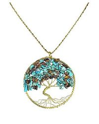 Aeravida | Blue Turquoise-tiger's Eye Stone Eternal Tree Of Life Brass Long Necklace | Lyst