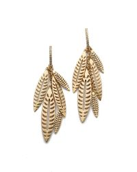 Rebecca Minkoff | Metallic Safari Haze Leaf Chandelier Earrings - Gold/crystal | Lyst