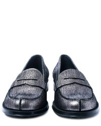 Tod's - Silver Gommino Metallic Leather Penny Loafers - Lyst
