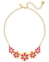 kate spade new york | Pink Gold-tone White Epoxy Bead Floral Necklace | Lyst
