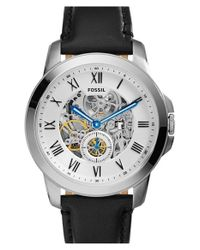 Fossil - Black 'grant' Automatic Leather Strap Watch for Men - Lyst