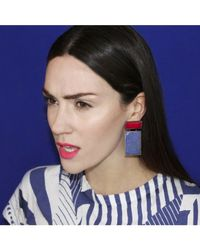 Adornia - Blue Pink Chalcedony And Lapis Rothko Earrings - Lyst