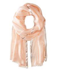 Calvin Klein | Pink Color Block Lurex Border Crepe Wrap | Lyst