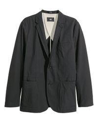 H&M - Black Cotton Jacket Slim Fit for Men - Lyst
