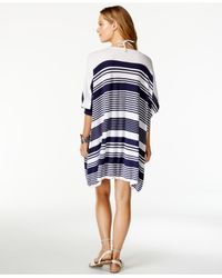 Tommy Bahama - Blue Striped Three-quarter Sleeve Cover-up - Lyst