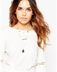 ASOS - Metallic Semi Precious Chunky Nugget Multirow Necklace - Lyst