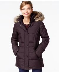 Anne Klein | Purple Faux-fur-trim Contrast-quilted Down Coat | Lyst